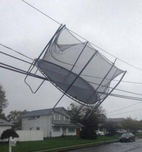 Trampoline in the wind