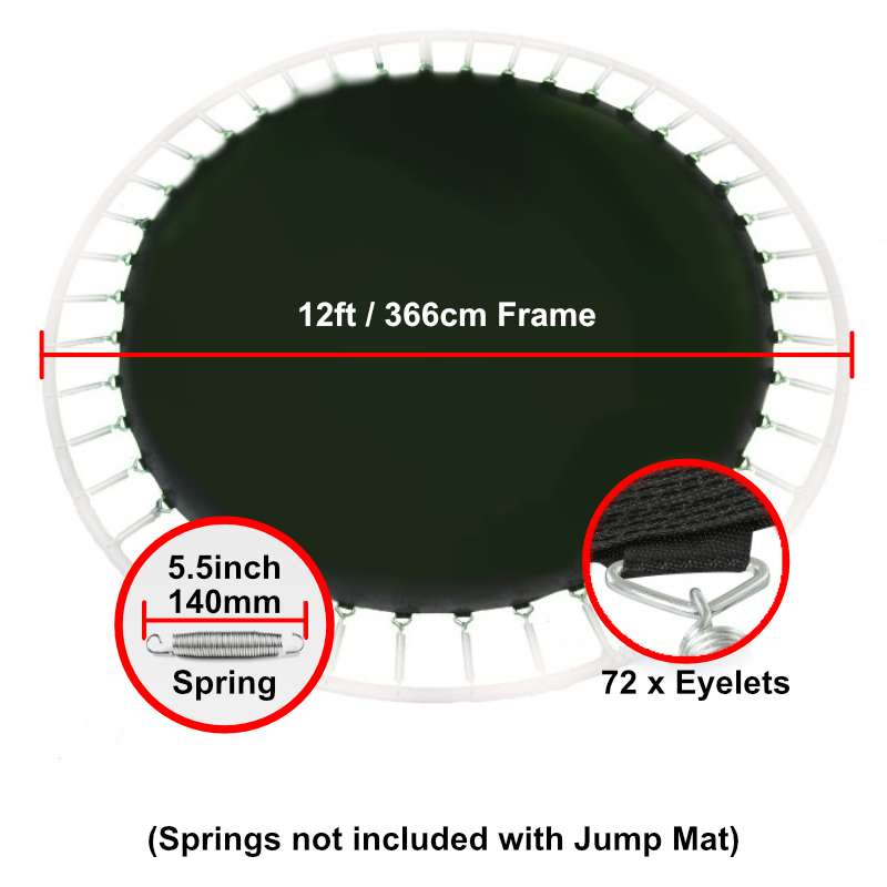 """Jump Mat for 12 ft Trampoline Frame with 72 eyelets (for 5.5"""" springs)"""