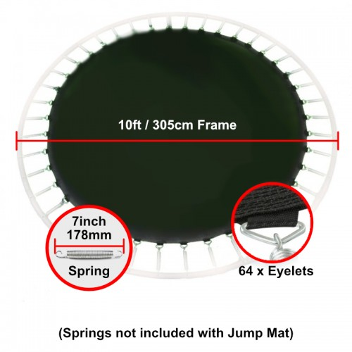 """Jump Mat for 10 ft Trampoline Frame with 64 eyelets (for 7"""" springs)"""