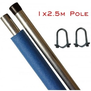 Replacement Trampoline Enclosure Pole 2.5m (with brackets)