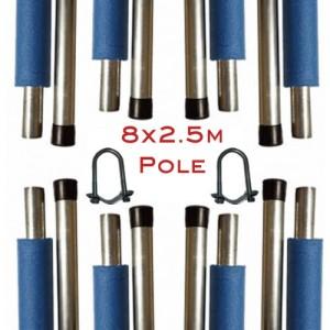 2.5m Trampoline Enclosure Pole (Set of 8 including brackets)
