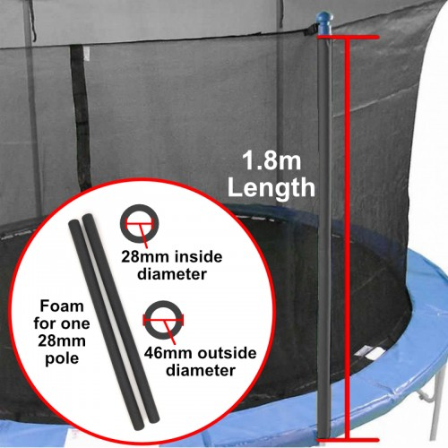 Trampoline Pole Foam Sleeve for 28mm pole (Grey)